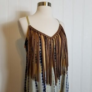 Judith  March Fringed Racerback Tank Dress